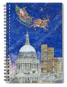 Father Christmas Flying Over London Spiral Notebook