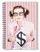 Female Business Superhero Showing Dollar Sign Spiral Notebook