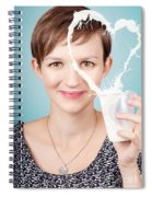 Female Nutritionist Showing Full Cream Milk Love Spiral Notebook
