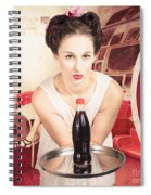 Female Postcard Pinup Girl In 60s Restaurant Spiral Notebook