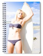 Female Surfer In Sun With Surf Board Spiral Notebook