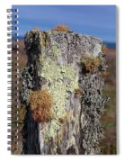 Fence Post Encrusted With Lichen  Spiral Notebook