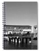 Ferry Building And Pinnacle Building - San Francisco Embarcadero - Black And White Spiral Notebook