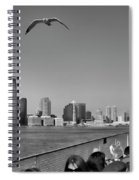 Ferry Ride To Statue Of Liberty Ny Nj Black Wht  Spiral Notebook