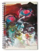 Fiddleheads- Landscape Painting For Sale Red Blue Green Spiral Notebook