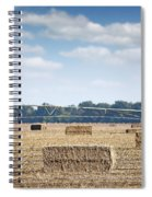 Field With Straw Bale And Center Pivot Sprinkler System Agricult Spiral Notebook
