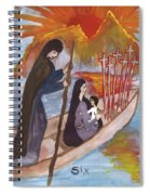 Fiery Six Of Swords Illustrated Spiral Notebook