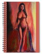 Fine Art Female Nude Jean Standing Original Multimedia Painting Spiral Notebook