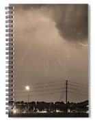 Fire Rescue Station 67  Lightning Thunderstorm Sepia Black And W Spiral Notebook