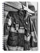 Fireman - Saftey Jacket Black And White Spiral Notebook