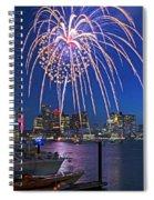 Fireworks Over The Boston Skyline Boston Harbor Illumination Streaming Down Spiral Notebook