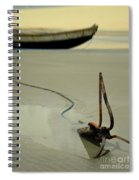 Fish Boat And Anchor On Low Tide  Spiral Notebook