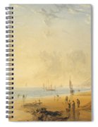 Fisherfolk On The Shore Near Dover At Sunset Spiral Notebook