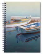Coastal Wall Art, Fisherman In A Calm, Fishing Boat Paintings Spiral Notebook