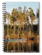 Fisherman On Evening Lake Spiral Notebook