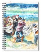 Fishermen In Praia De Mira Spiral Notebook