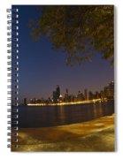 Fisheye Chicago Skyline At Dawn Spiral Notebook