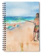 Fishing At The Beach Watercolor Spiral Notebook