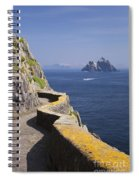 Fishing Boat Approaching Skellig Michael, County Kerry, In Spring Sunshine, Ireland Spiral Notebook