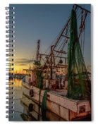 Fishing Boat At Sunset Spiral Notebook