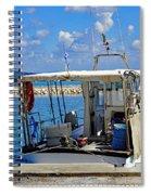 Fishing Boat Moored In The Harbor Of Katakolon Greece Spiral Notebook