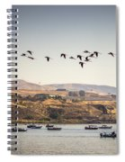 Fishing Boats And Blue Herons Spiral Notebook