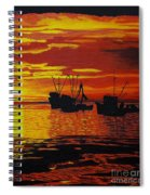 Fishing Boats At Sunset Spiral Notebook
