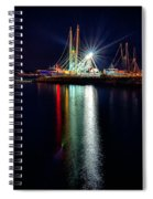 Fishing Boats In Marina At Night Spiral Notebook