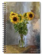 Five Sunflowers Centered Spiral Notebook