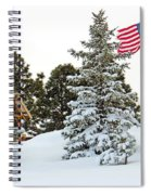 Flag And Snowy Pines Spiral Notebook
