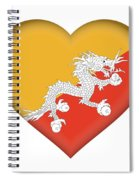 Flag Of Bhutan Heart Spiral Notebook