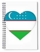 Flag Of Uzbekistan Heart Spiral Notebook
