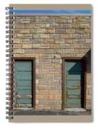 Flagstone Wall And Two Green Doors Spiral Notebook