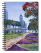 Flame Of The Forest Trees Along Sheikh Zayed Road Dubai Uae 2002  Spiral Notebook
