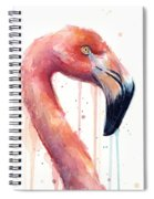 Flamingo Painting Watercolor - Facing Right Spiral Notebook