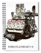 Flat Head V 8 Engine Spiral Notebook