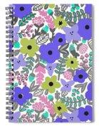 Floral Burst Of Blue Spiral Notebook