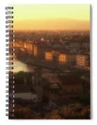 Florence And The Ponte Vecchio Dusk, Tuscany, Italy Spiral Notebook