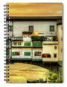 Florence - Boats Under The Ponte Vecchio Sunset - Untextured Spiral Notebook