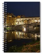 Florence Italy Night Magic - A Glamorous Evening At Ponte Vecchio Spiral Notebook