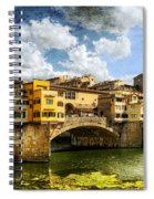 Florence -  Ponte Vecchio From The Northwestern Bank - Vintage Spiral Notebook