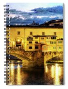 Florence - Ponte Vecchio Sunset From The Oltrarno - Vintage Version Spiral Notebook