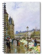 Flower Sellers By The Seine Spiral Notebook