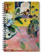 Flowers And A Japanese Print Spiral Notebook