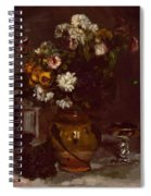 Flowers In A Vase And A Glass Of Champagne Spiral Notebook