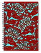 Flowers Indigo Red And Blue Spiral Notebook