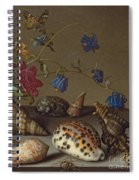 Flowers, Shells And Insects On A Stone Ledge Spiral Notebook