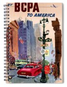 Fly Bcpa To America Vintage Poster Restored Spiral Notebook