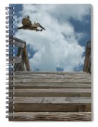 Fly By At The Beach - Brown Pelican And Rustic Stairs Spiral Notebook