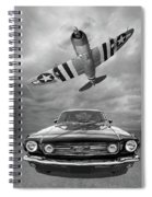 Fly Past - 1966 Mustang With P47 Thunderbolt In Black And White Spiral Notebook